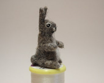 Needle felted hare.Miniature soft sculpture.Felted wild animals.Ready to ship