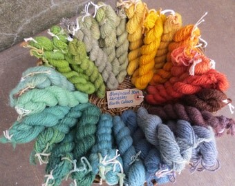 Naturally dyed blue-faced leicester wool yarn (fine 2 ply) in 30 metre skeins - Earth Colours