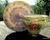 Vintage Japan Lusterware Rose Tea Cup and Saucer -Tea Cup - Lusterware Tea Cup and Saucer