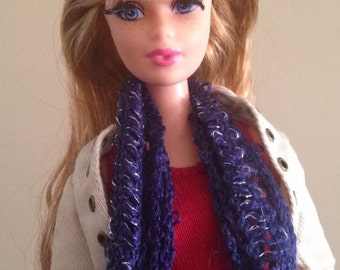 Navy Monster High Fashion Royalty Doll Clothes Handmade scarf Crochet OOAK Custom