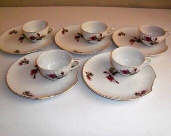 Japan Vintage Set Of 5 Floral Clam Design Lunch Plate & Cup Sets