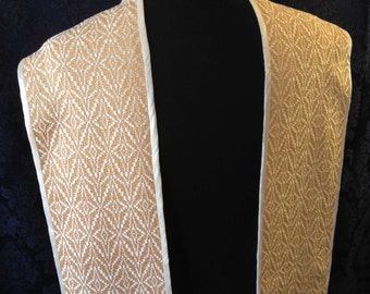 White Clergy Stole, Gold Clergy Stole, Ministerial Stole; Liturgical Stole; Handwoven Clergy Stole; Handmade Clergy Stole; Deacon's Stole