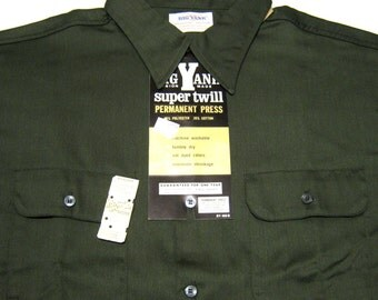 Vintage 70's BIG YANK Super Twill Union Made Work Shirt. Never Worn. Nos. Nwt. Usa. L