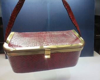 Vintage 40's-50's Cranberry Faux Alligator Leather Box Shaped Purse/Hand Bag