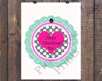 2 Inch Round Mint Scallop Valentine Gift Tag/Sticker with Black and White Polka dots