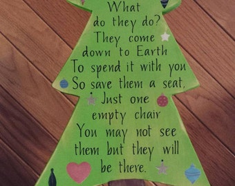 Christmas in Heaven What do they do?, Christmas Tree, Christmas Table Decor, Personalized, In Memory Of, Christmas Poem, Rustic Wood Tree