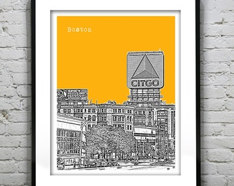 Boston Skyline Poster Art Print Kenmore Square Massachussetts MA Version 43