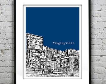 Wrigleyville Poster Skyline Art Print Chicago Illinois Version 11