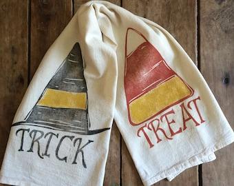 Trick or Treat Flour Sack Towel - Halloween Tea Towel - Hand Block Printed - Unbleached 100% Cotton - Eco Friendly Ink