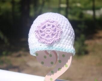 Variegated Pastel Turquoise/Purple Baby Beanie - Purple Flower Baby Beanie