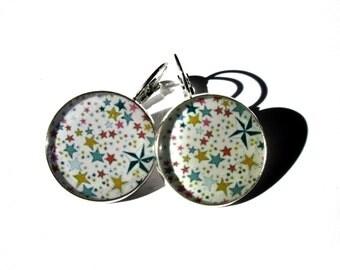 STARS DANGLE EARRINGS - Star Jewelry - Geometric Earrings - Statement Earrings - Colorful Little stars