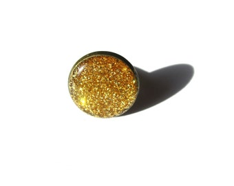GOLD GLITTER DRUZY Ring - Faux Druzy ring - Bridal Druzy - Adjustable ring - Party Ring