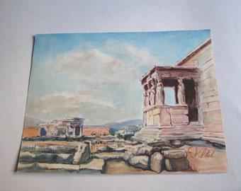 vintage original watercolor painting, Caryatids, Erechthion, Acropolis of Athens, Greece
