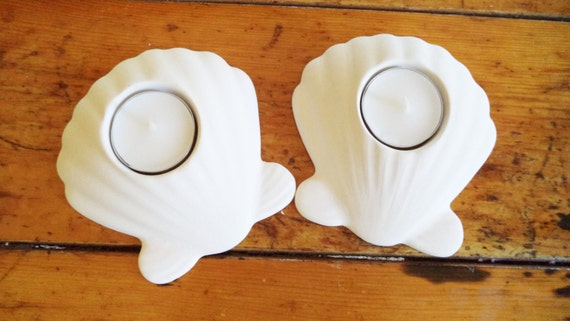 Seashell candle holders, tea light candle holders, beach house accent, simple white nautical