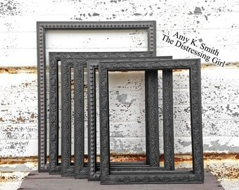 large frame collage set of 6 picture frames ready to hang gallery wall black ornate frames with glass backing and hooks 8x10 11x14