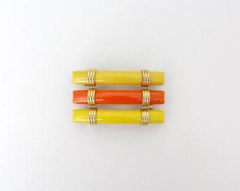 Vintage barrette // French yellow / orange hair barrette