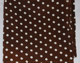 Brown and White Polyester Polka Dot Pocket Square
