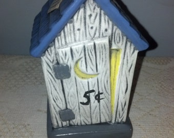 Ceramic Outhouse Coin Bank Hand Painted