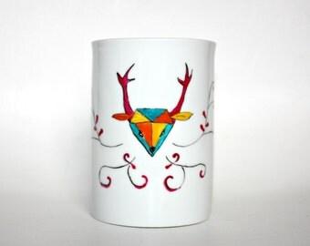 Pink deer, mug porcelain mug