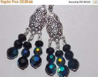 25%OFF Black Czech Glass Chandelier Earrings