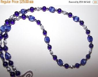 40%OFF Cobalt Blue Matte Silver Czech Glass Silver Crystal Necklace