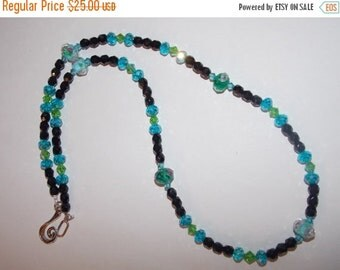 25%OFF Blue and Green Floral Lampwork Necklace