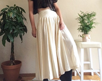 80s Silk Pleated Creme Full Skirt