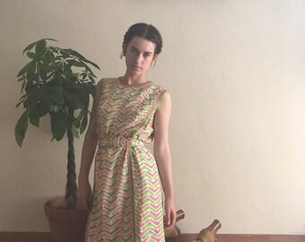 70s Spring Silk Day Dress