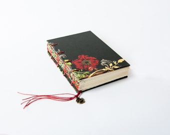 Small Handmade Coptic Bound Journal Notebook Sketchbook Back and Red Floral