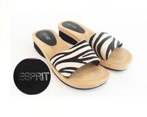 The ESPRIT Zenith Zebra Fur Vintage Clogs Slip on Platform Wood Slides SZ 7: Women's Shoes, Sandals, Mules, Flip Flops, 90's