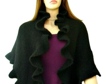 Black Mohair Ruffle Shawl, Scarf, Three Sides Ruffled Cute Shawl, Kate Middleton Style, Handknit, Express Delivery