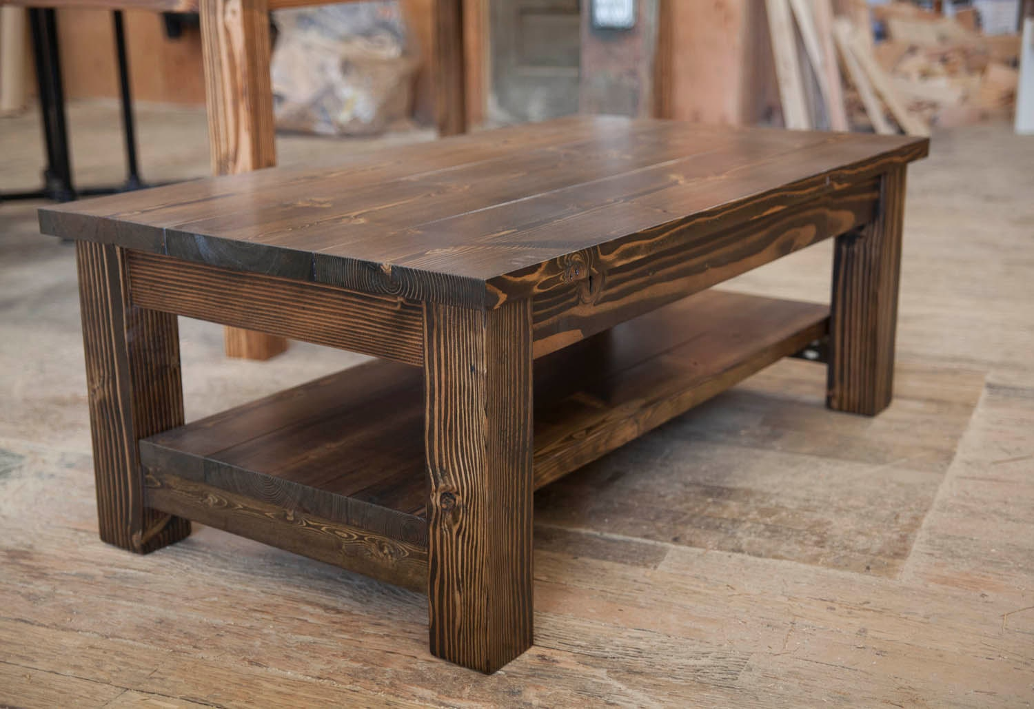 Farmhouse coffee table rustic coffee table solid wood for Rustic coffee table