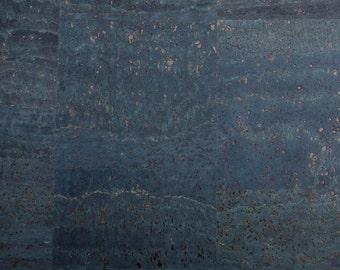 Natural Cork Fabric - Navy Blue
