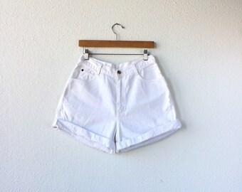 Vintage • White Denim High Waisted Shorts