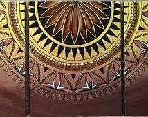 Original Multi-canvas Samoan Tapa Inspired Painting
