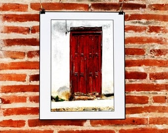 Rustic Red Door Wall Art, Fine Art Photography, Instant Download, Rustic Red Print, Minimalist Wall Decor, Printable Door Photo, Minimalist