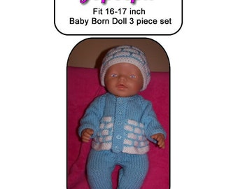 Baby Born Knitting Pattern JOSEPH  fits 16 to 17 inch dolls (pattern only)