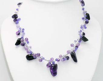 Amethyst Stone Necklace by Silk Thread