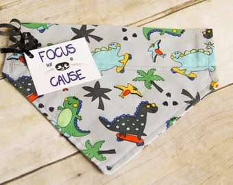 Dinosaurs on Skateboard  Dog Bandana, Dinos Over the Collar Dog Bandana, Collar Accessory, Pet Scarf, Focus for a Cause