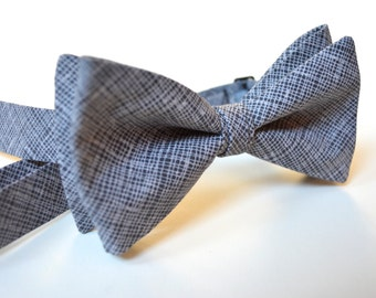 Grey bow tie for men,mens ties,mens bow ties,charcoal grey bow tie,diagonal grid gray bow tie,gray bow tie and pocket square