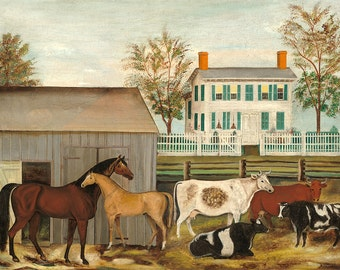 "Folk Art : ""The Barnyard"" (late 19th century) - Giclee Fine Art Print"