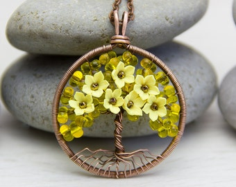 Tree-Of-Life Necklace Pendant Copper Wire Wrapped Pendant Pink Necklace Brown Wired Copper Jewelry Wire Wrapped Tree Pendant Yellow