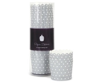 Silver Swiss Dot Baking Cups (25 Count)