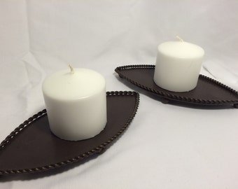 Set of 2 Vintage Brown Metal Candle Holders with Rope detail