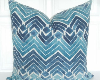 Blue Pillow Cover - Blue Chevron Stripe Pillow - Designer Pillow - Blue Throw Pillow - 18x18, 20x20, Lumbar Pillow - Blue Decorative Pillow
