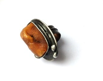 Ring with Raw Baltic Amber! Unique Amber ring, Adjustable ring, Boho style, Statement ring, Copper,