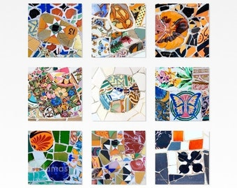 Bathroom art, Barcelona art, spanish tiles, Gaudi, Housewarming gift, Art print set, Park Guell,
