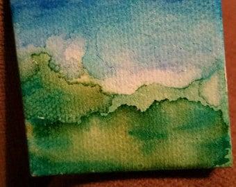 Miniature serene watercolor field painting