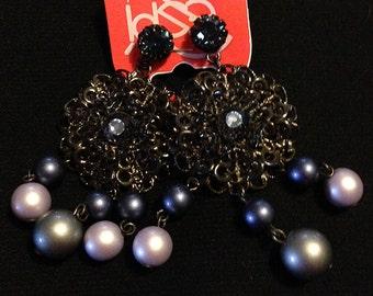 Old silver blue earrings