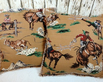 Shabby Tan Cowboy Barkcloth Mid-Century Retro Pillow Cover  REDUCED 50%